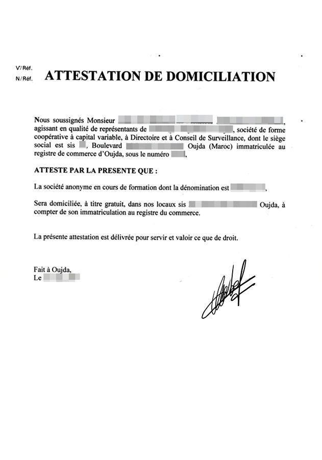 modele attestation de domiciliation